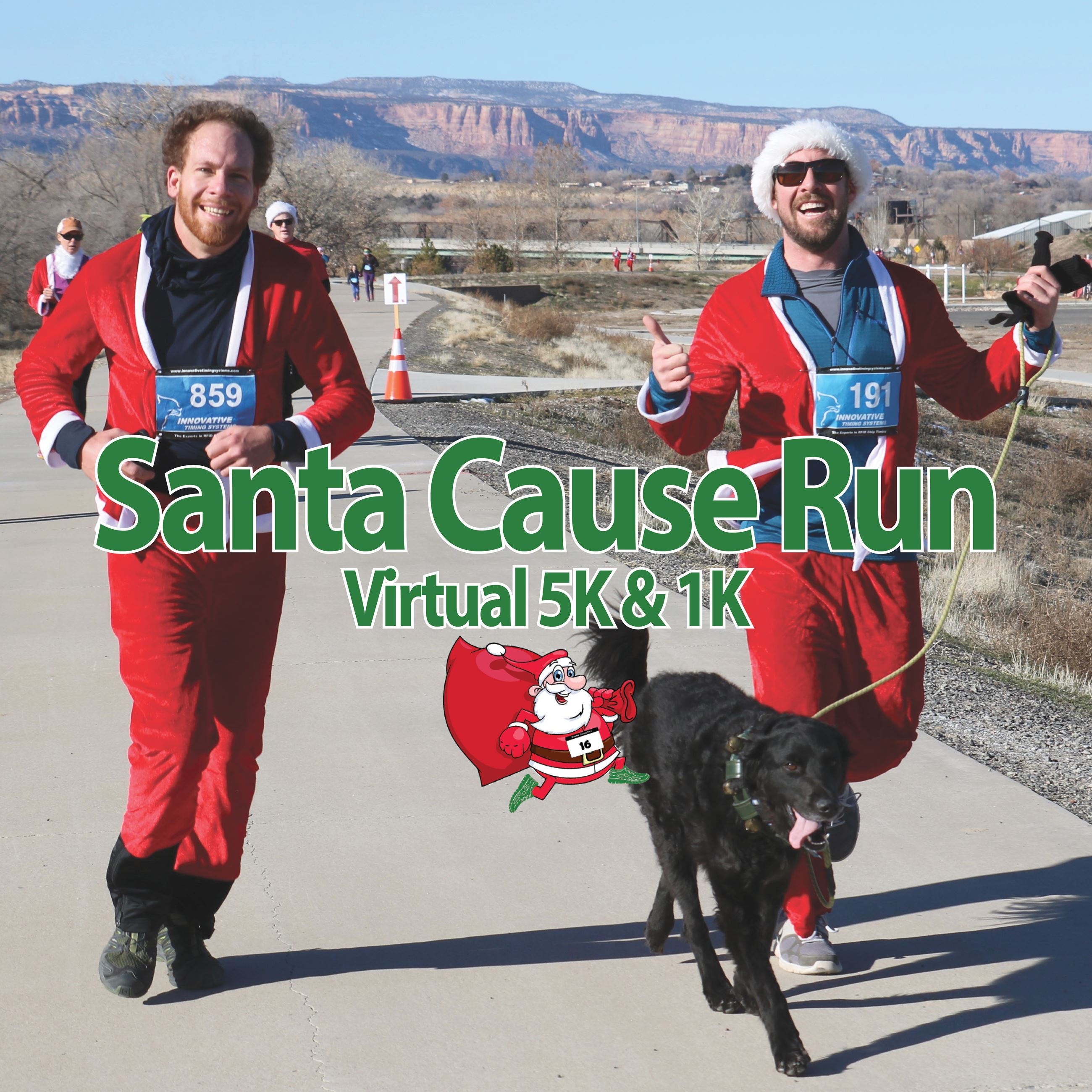Two men running in Santa suites. Participating in the Santa Cause Run.