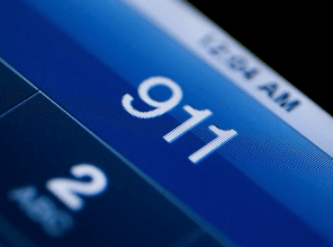 911 on cell phone screen