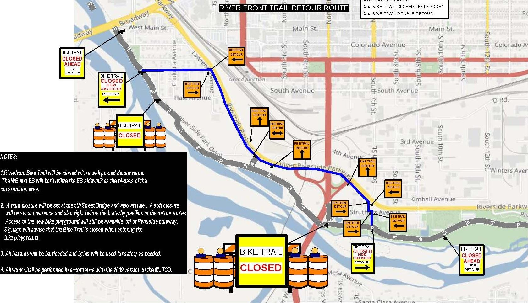 River Front Trail Detour Map