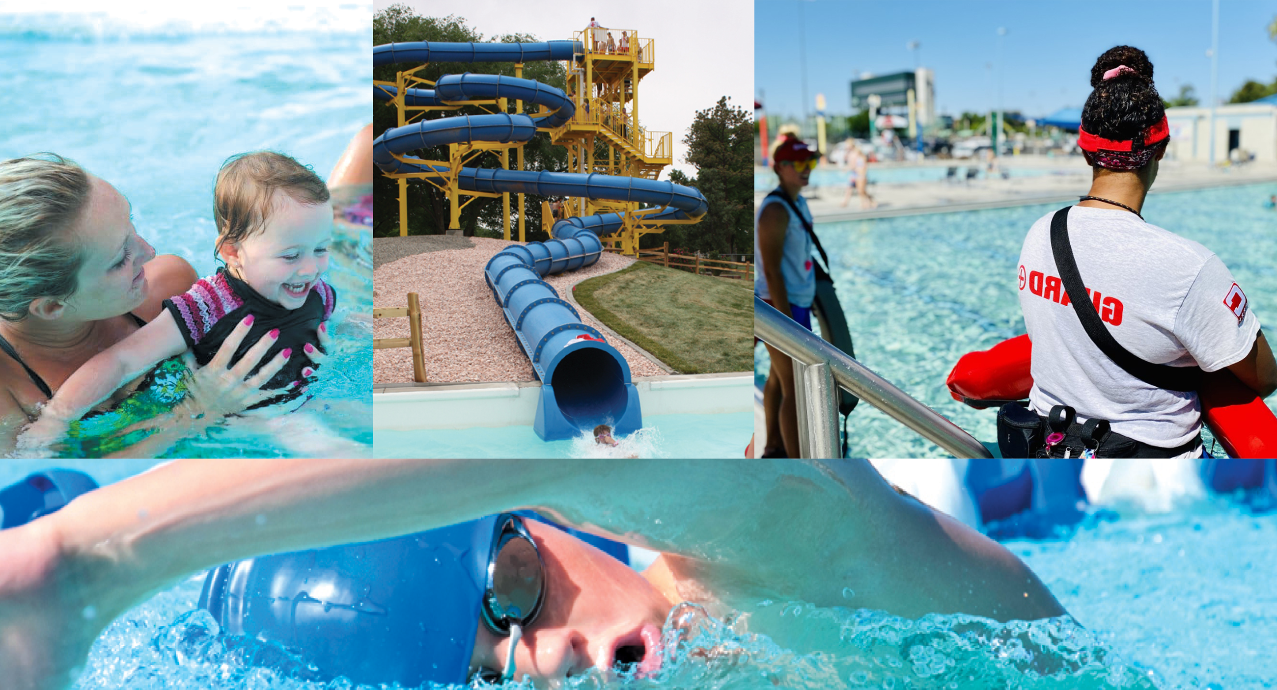 A collage of photos showcasing pools, lifeguards, swim lessons